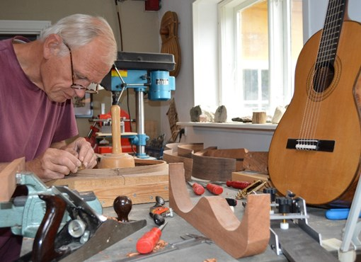 Inside the work station of a guitar builder